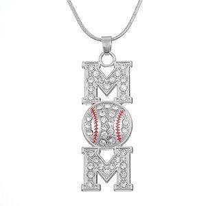 ⚾️❤️Baseball Mom Silver Crystal Pendant Necklace